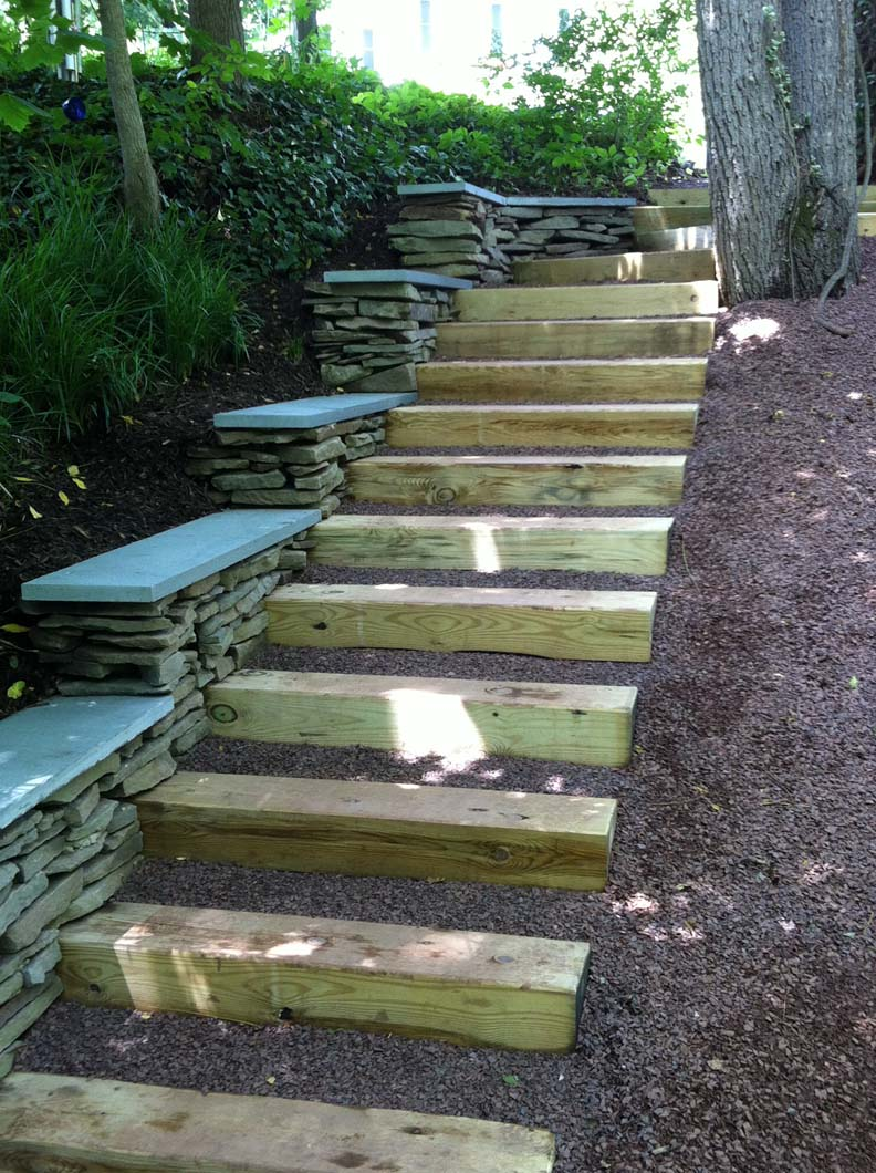 Railroad Tie And Stone Outdoor Steps Werner Building Company